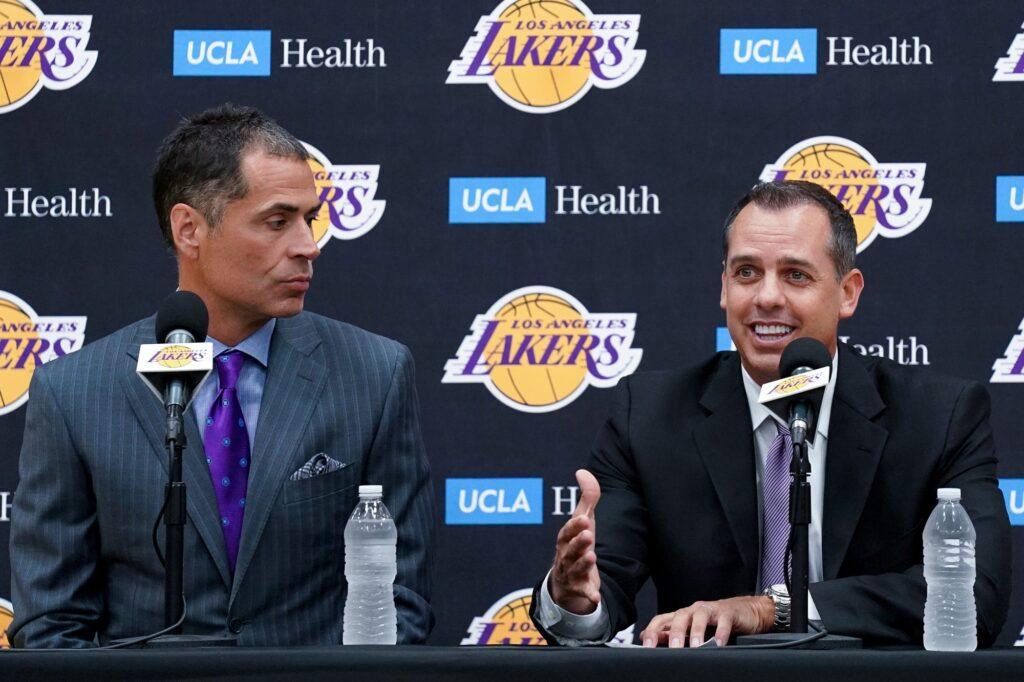 Los Angeles Lakers GM Rob Pelinka and coach Frank Vogel, at training facility in El Segundo