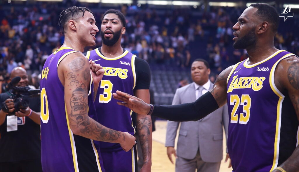 Kyle Kuzma, Anthony Davis and LeBron James. Los Angeles Lakers vs Phoenix Suns