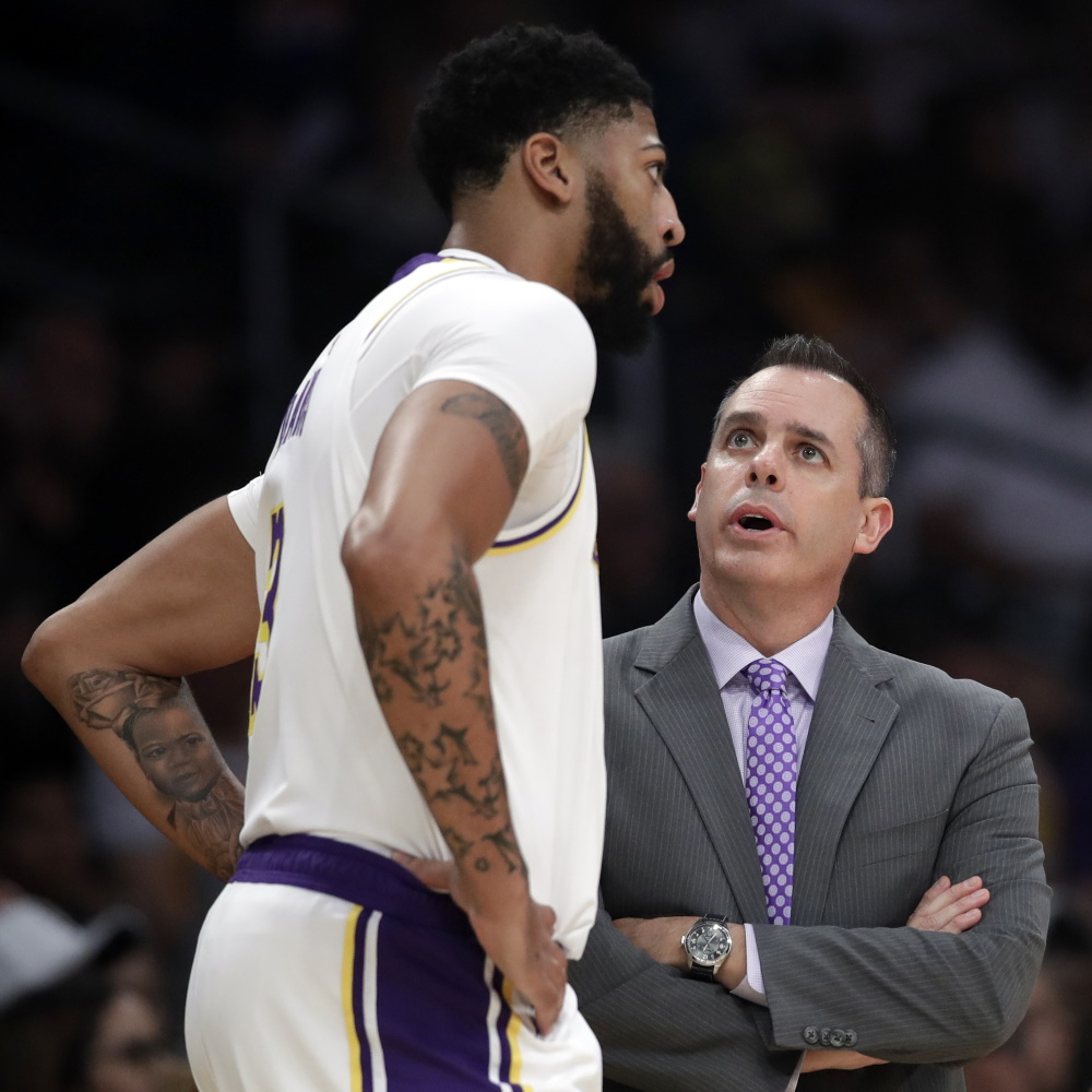 Anthony Davis and Frank Vogel, Los Angeles Lakers vs Toronto Raptors
