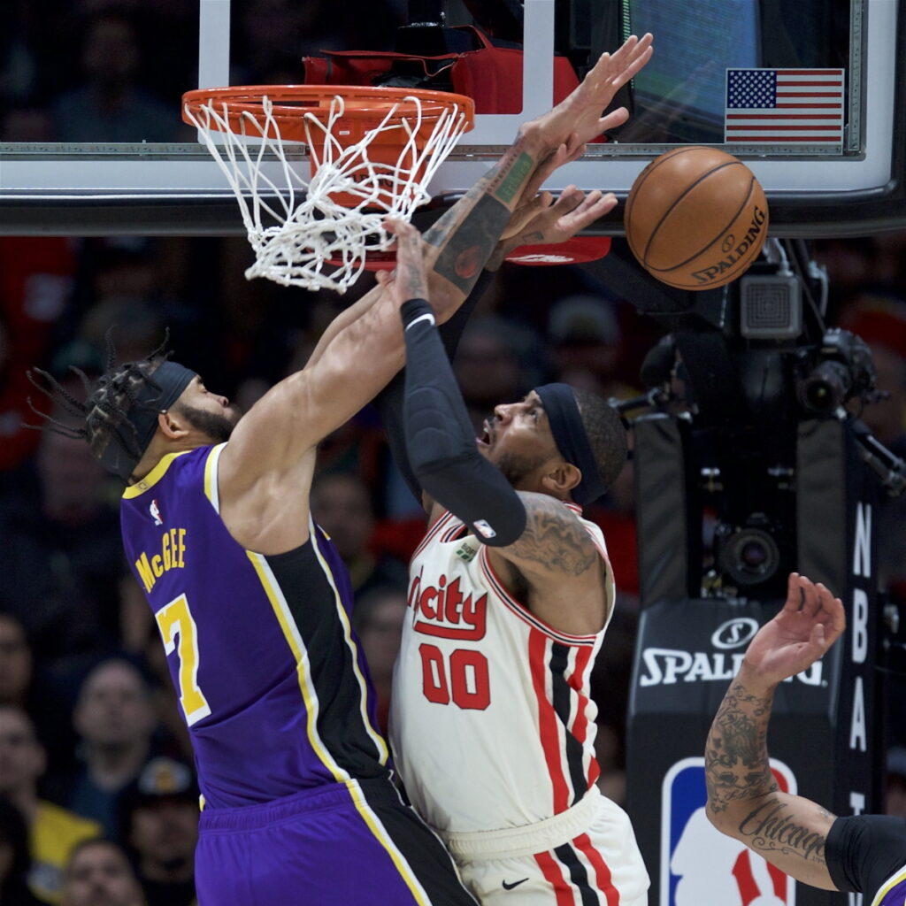 JaVale McGee and Carmelo Anthony, Los Angeles Lakers vs Portland Trail Blazers