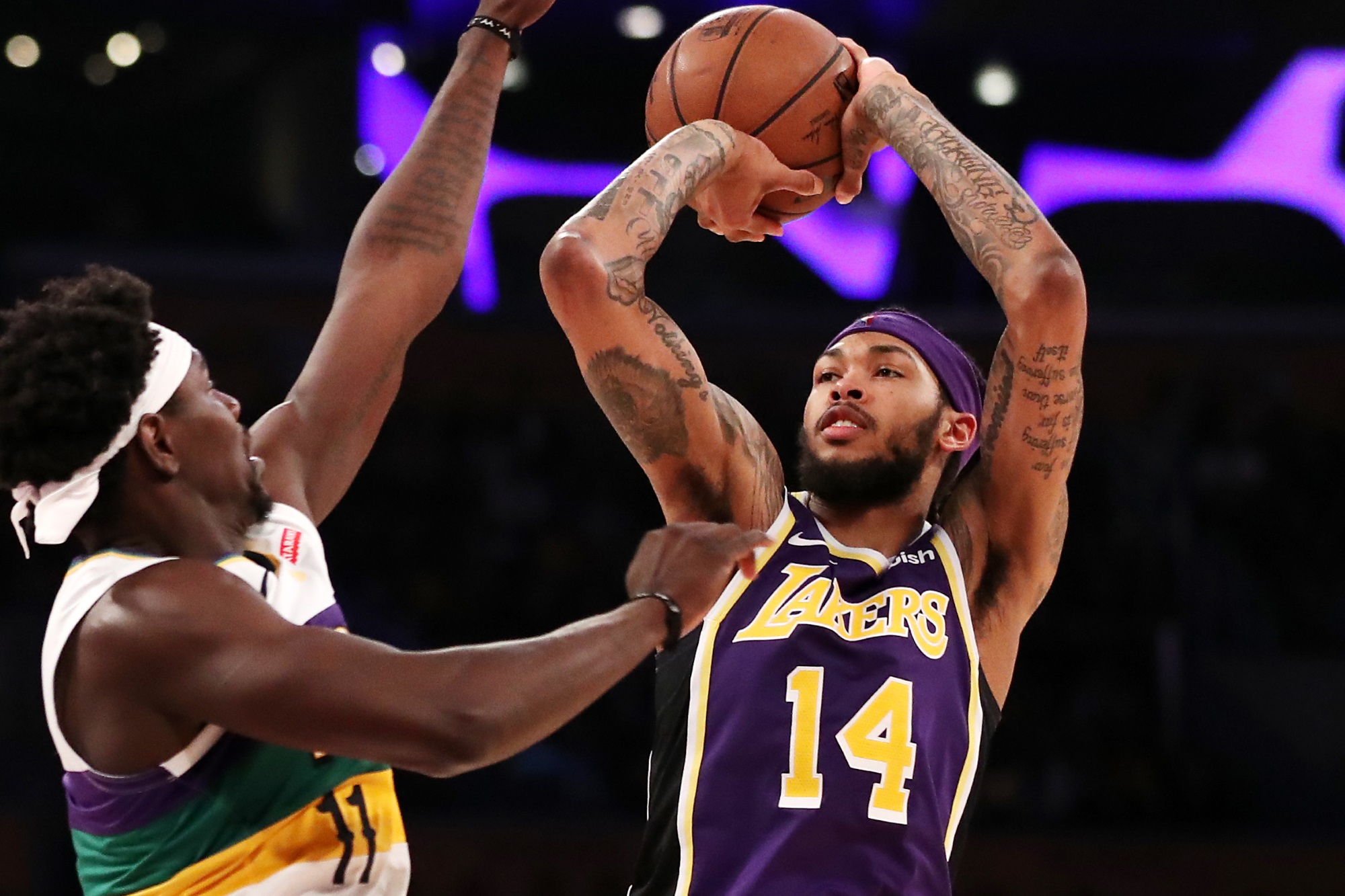 Brandon Ingram, Los Angeles Lakers vs New Orleans Pelicans at Staples Center