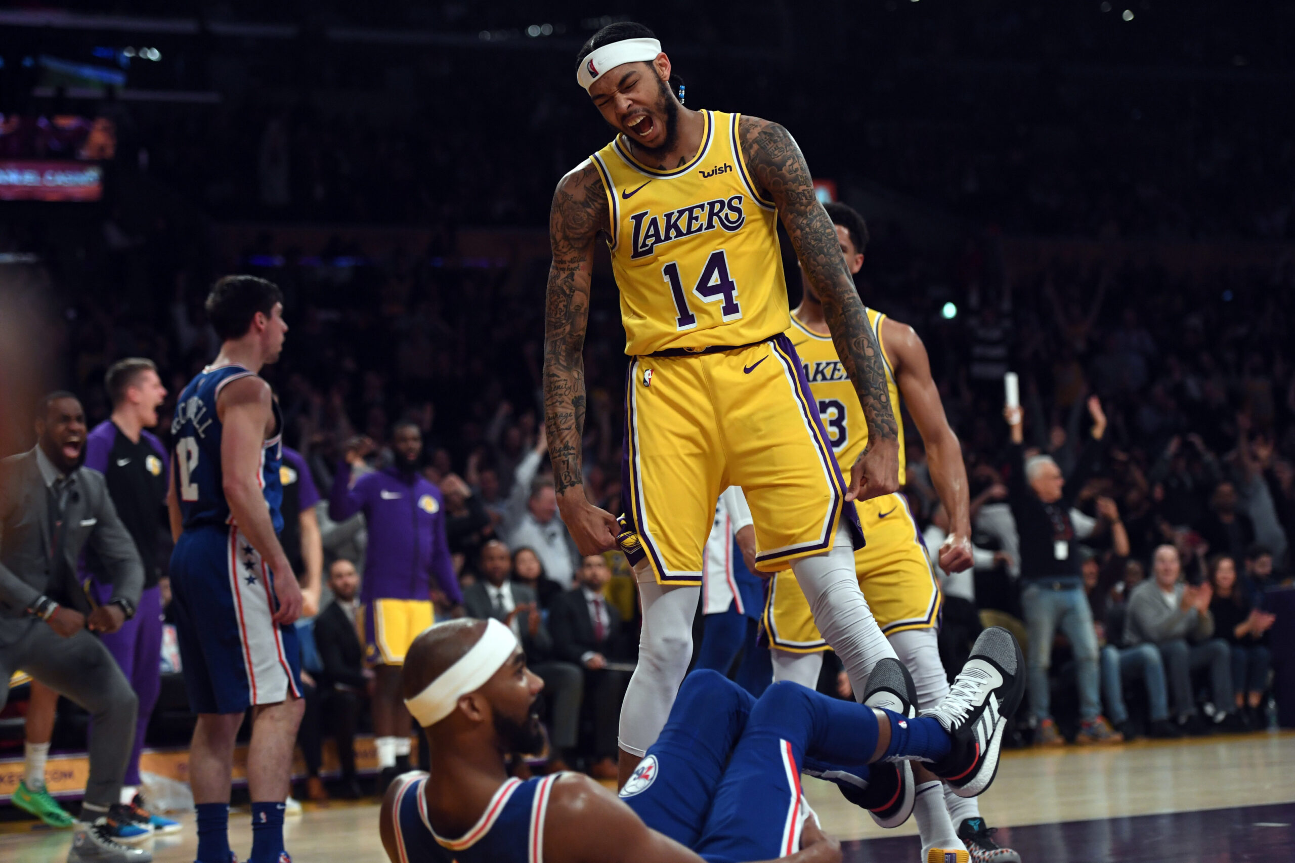 Brandon Ingram, Los Angeles Lakers vs Philadelphia 76ers at Staples Center