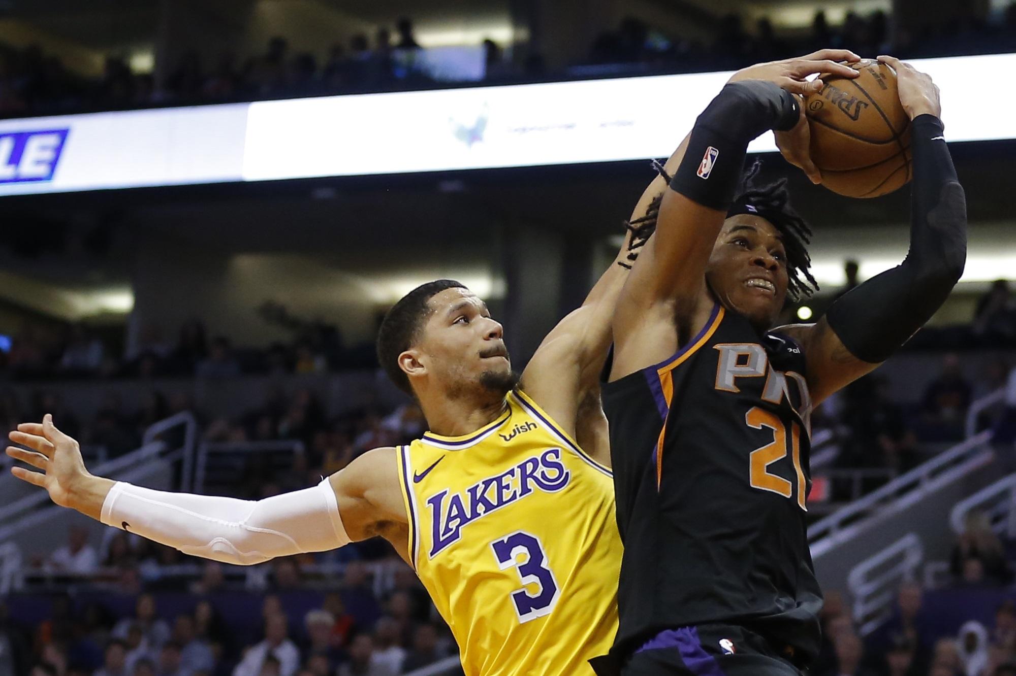 Josh Hart and Richaun Holmes, Los Angeles Lakers vs Phoenix Suns at Talking Stick Resort Arena