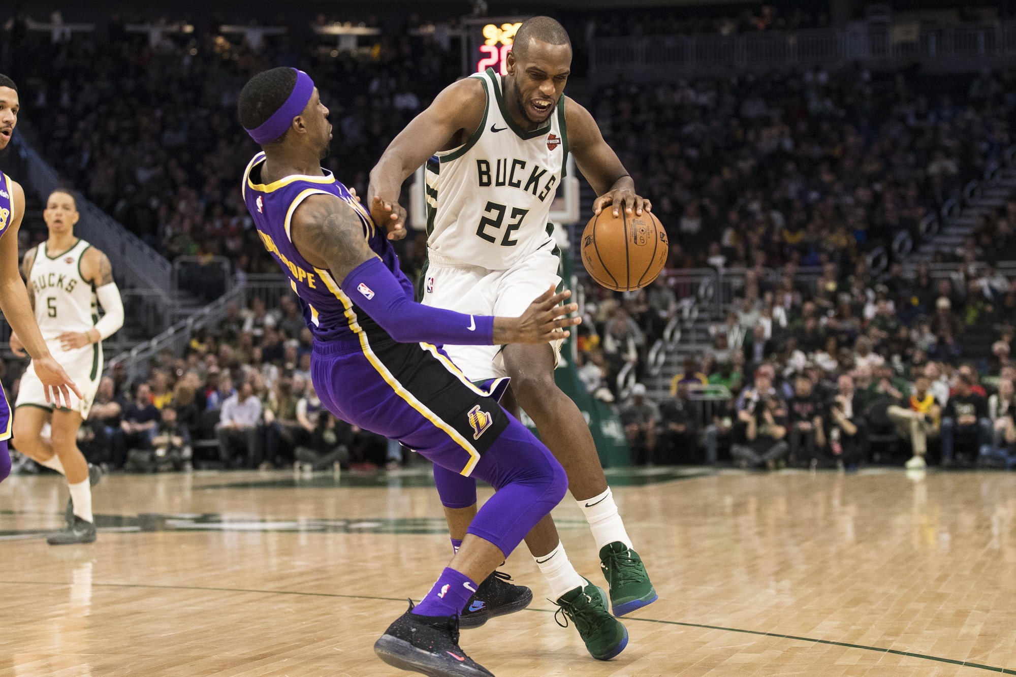 Khris Middleton and Kentavious Caldwell-Pope, Los Angeles Lakers vs Milwaukee Bucks at Fiserv Forum