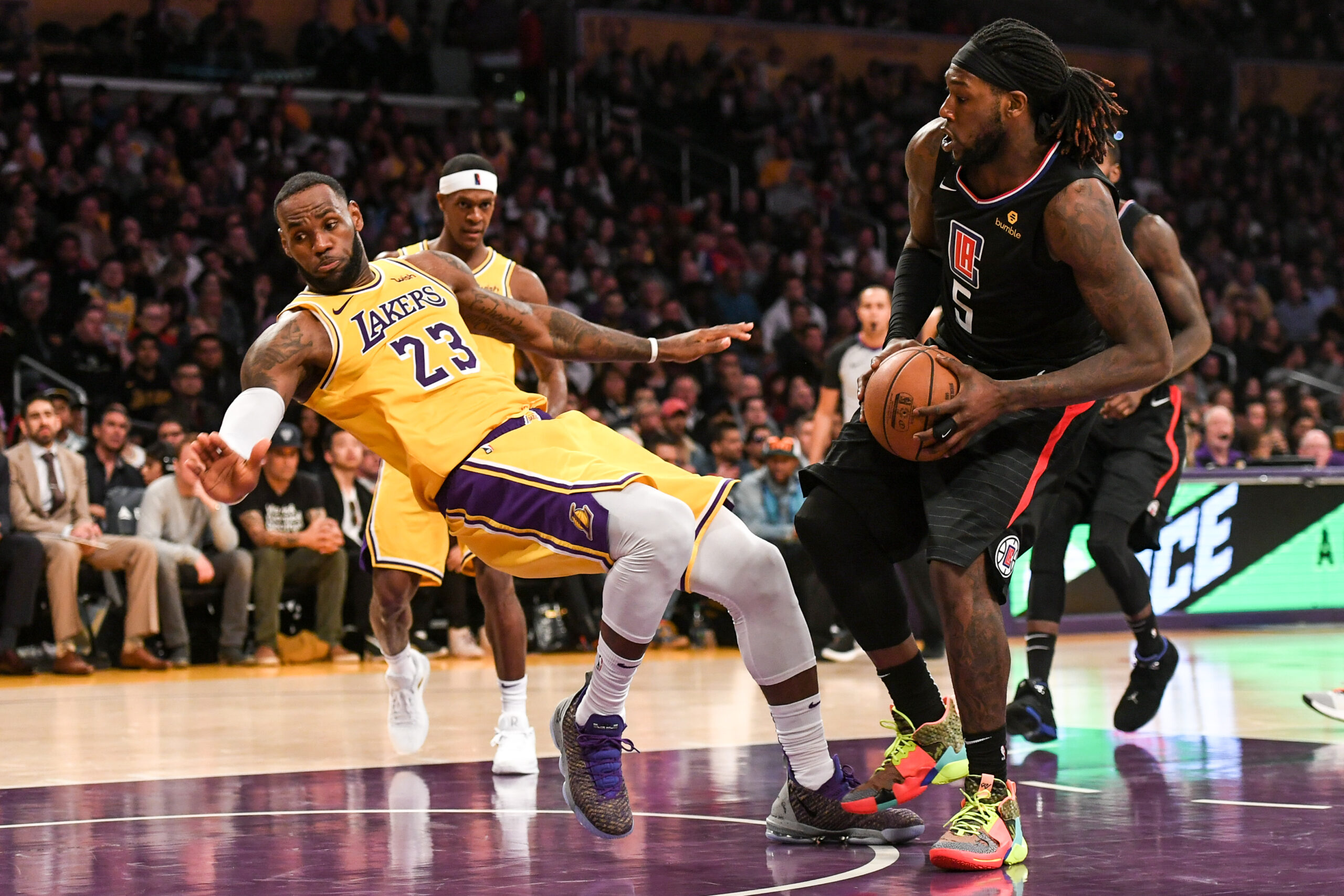 LeBron James and Montrezl Harrell, Los Angeles Lakers vs L.A. Clippers at Staples Center