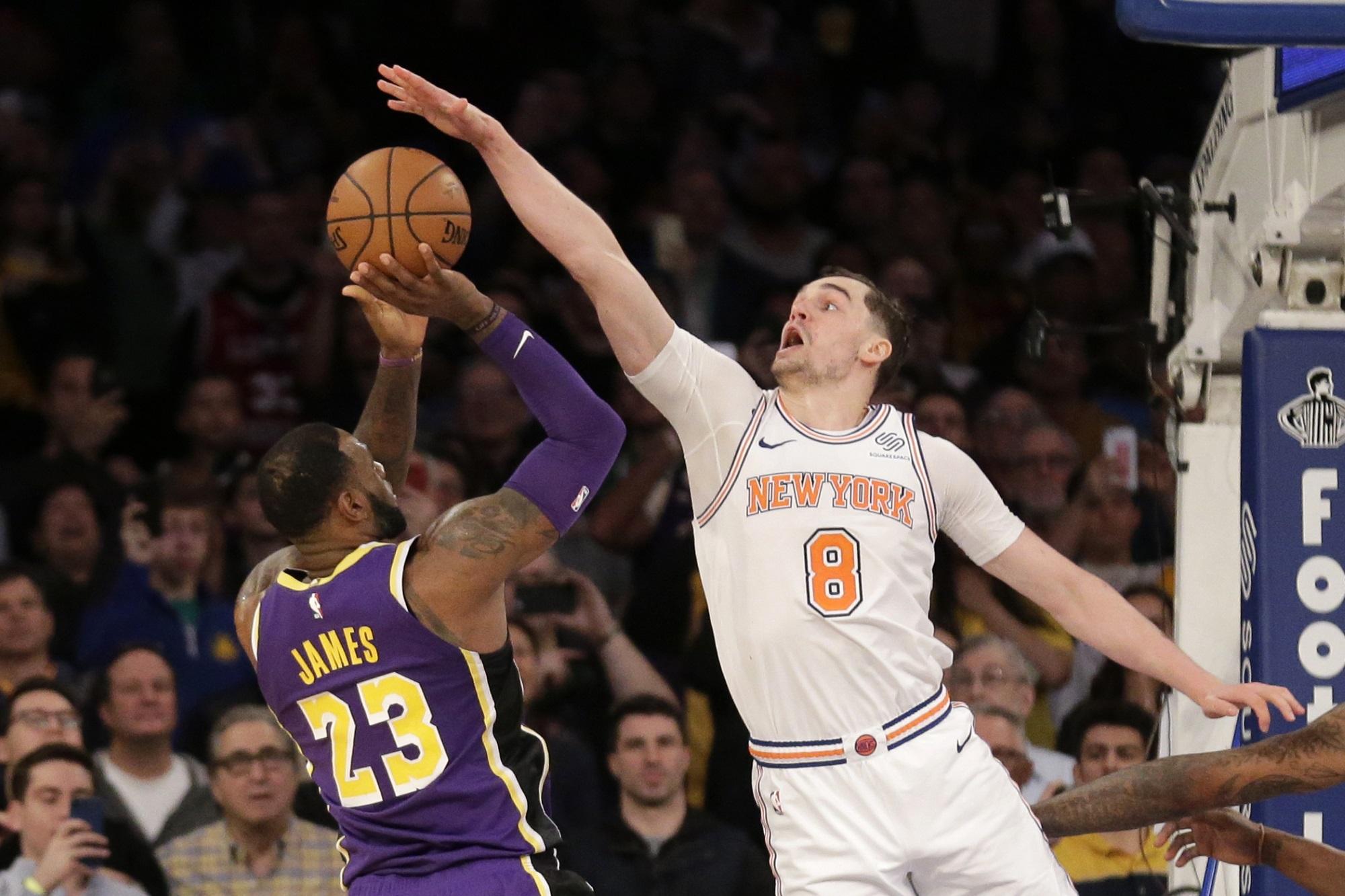LeBron James and Mario Hezonja, Los Angeles Lakers vs New York Knicks at Madison Square Garden