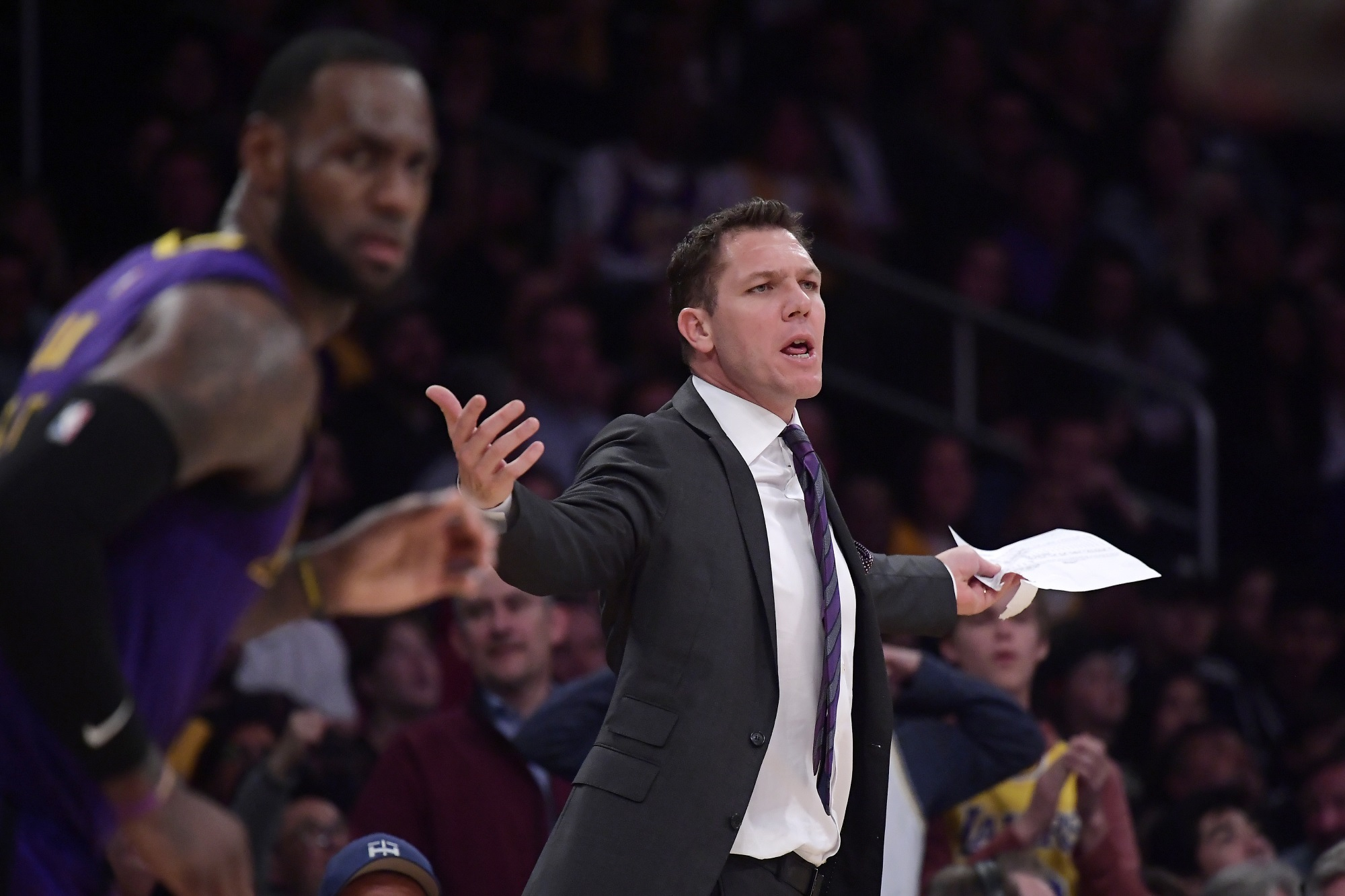 Coach Luke Walton, Los Angeles Lakers vs Brooklyn Nets at Staples Center