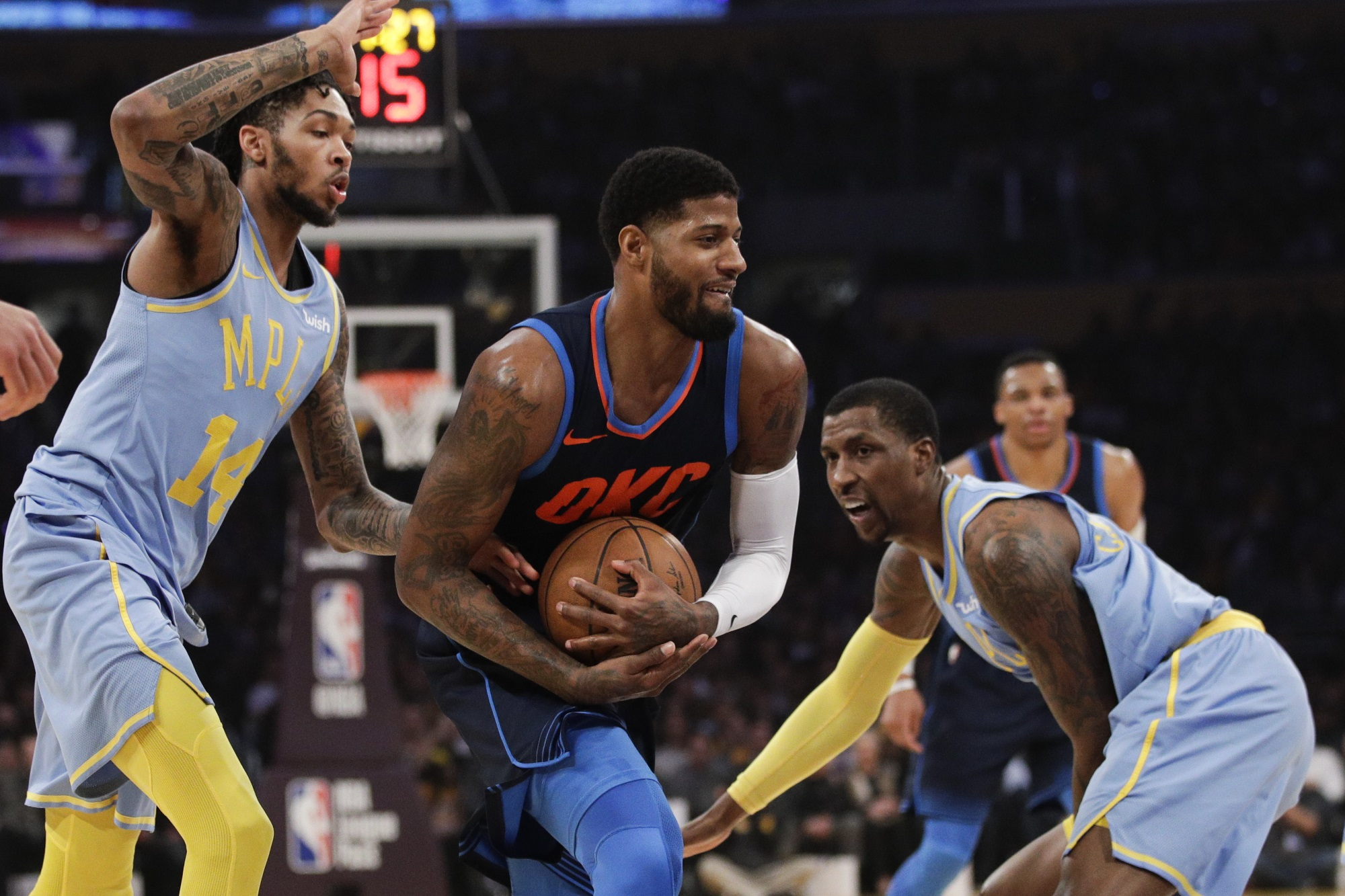 Brandon Ingram and Paul George, Los Angeles Lakers vs Oklahoma City Thunder at Staples Center