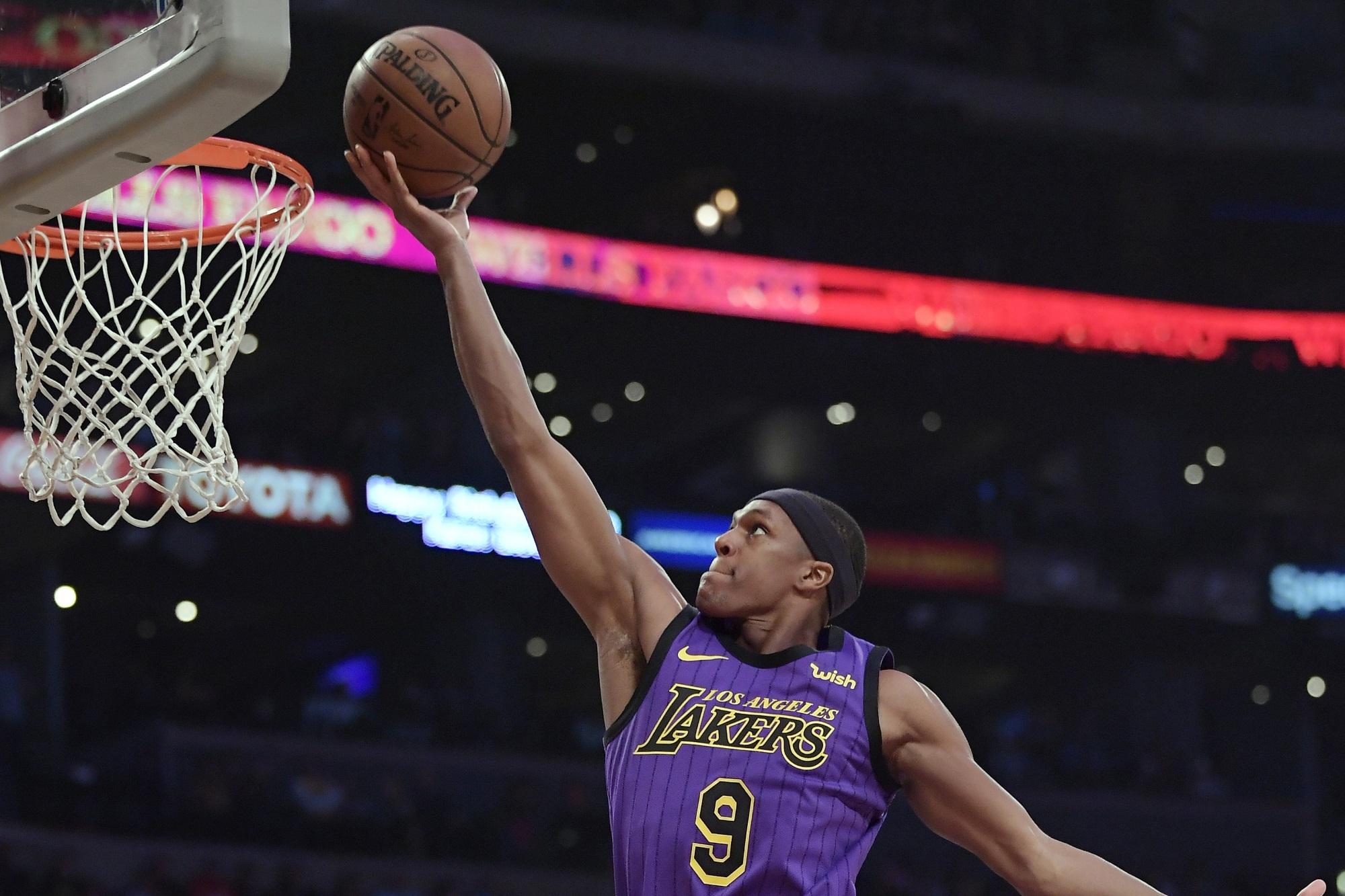 Rajon Rondo, Los Angeles Lakers vs Charlotte Hornets at Staples Center