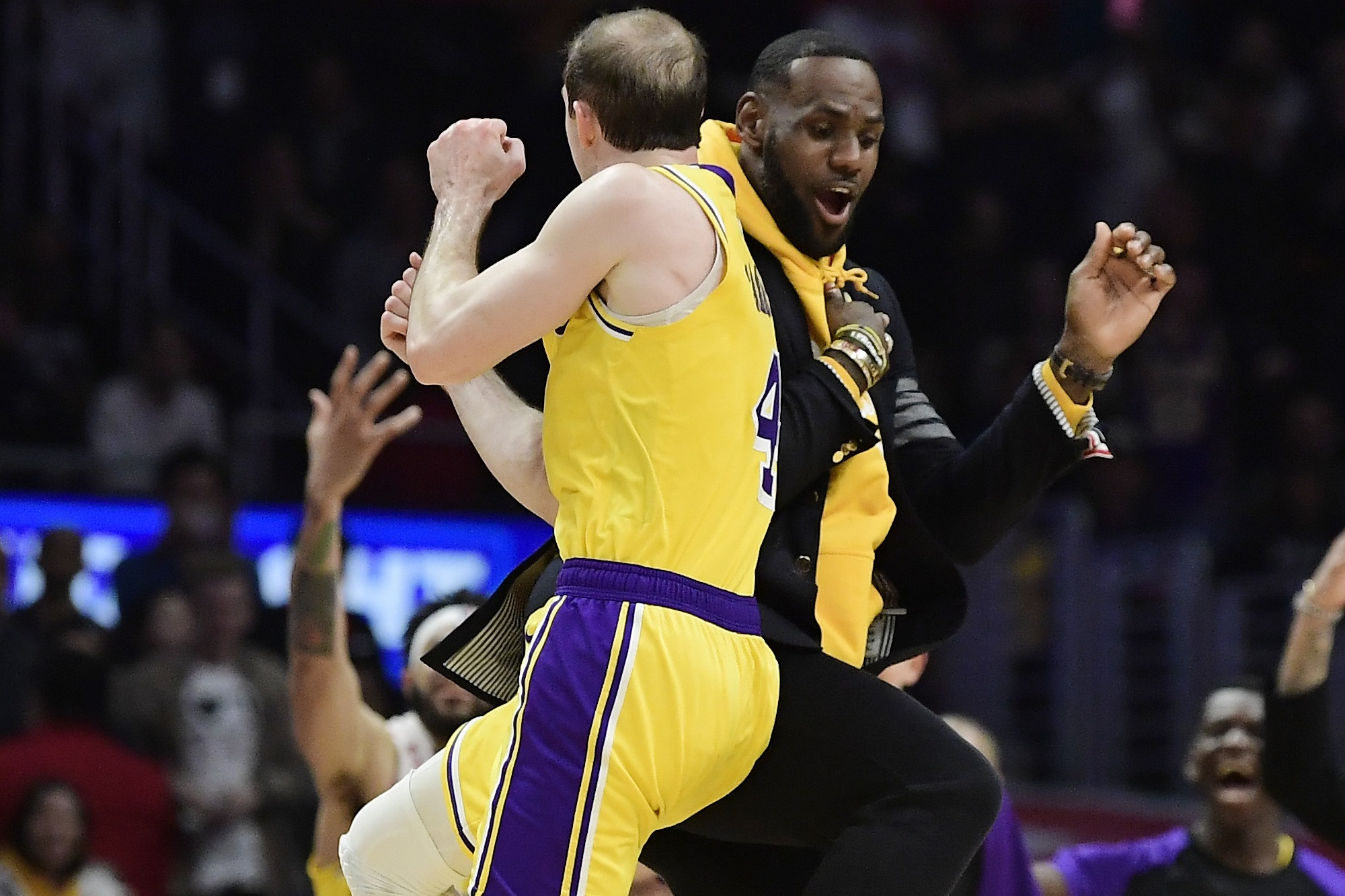 Alex Caruso and LeBron James, Los Angeles Lakers vs L.A. Clippers at Staples Center