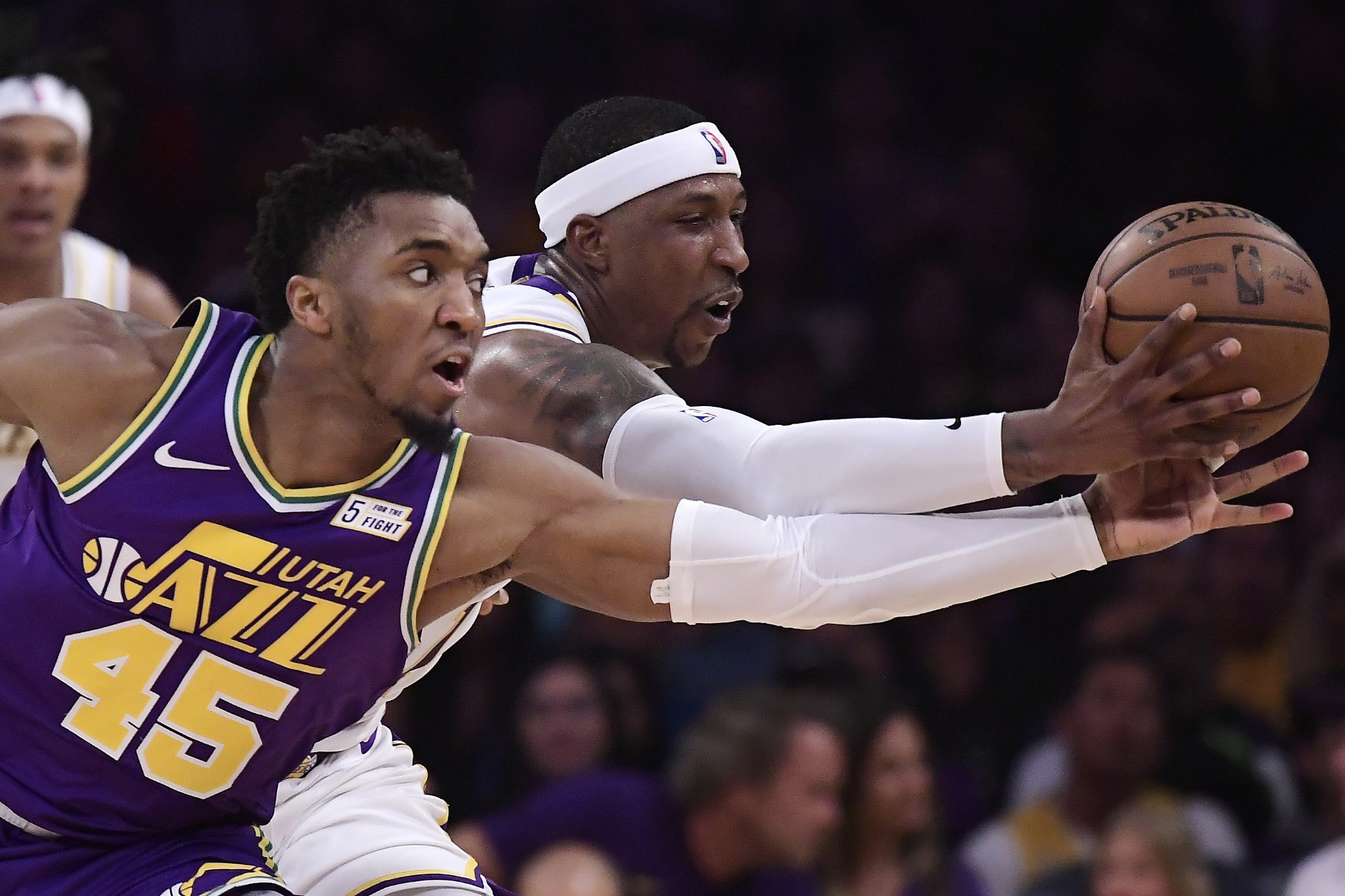Donovan Mitchell and Kentavious Caldwell-Pope, Los Angeles Lakers vs Utah Jazz at Staples Center