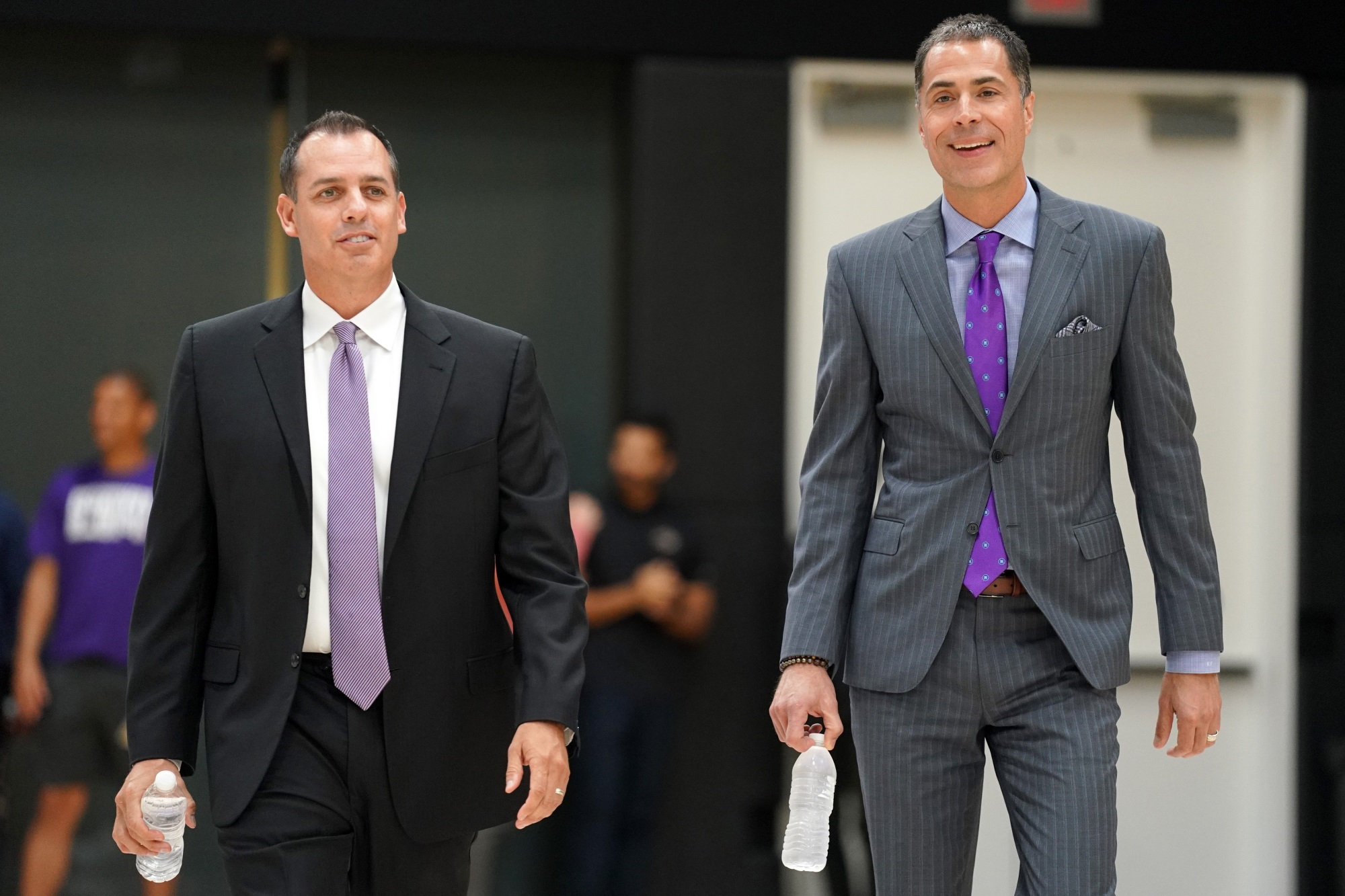Los Angeles Lakers coach Frank Vogel and GM Rob Pelinka, at training facility in El Segundo