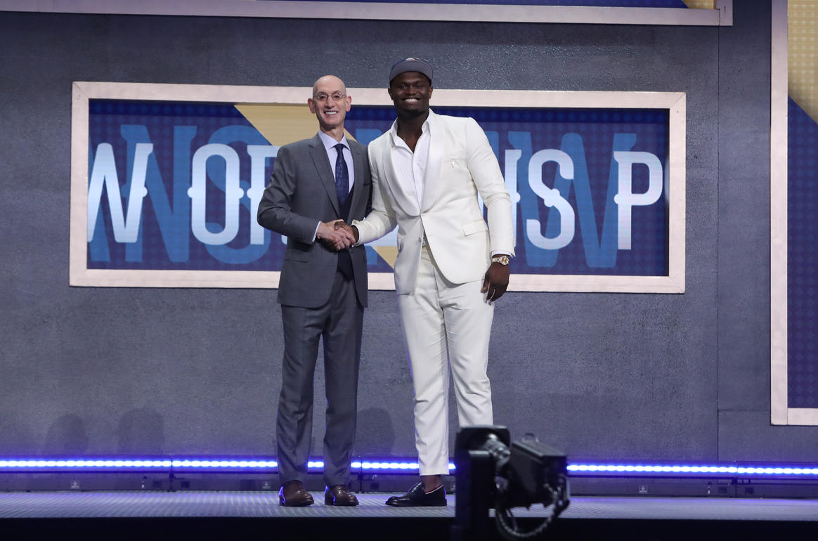 Zion Williamson and NBA Commissioner Adam Silver, 2019 NBA Draft at Barclays Center in Brooklyn
