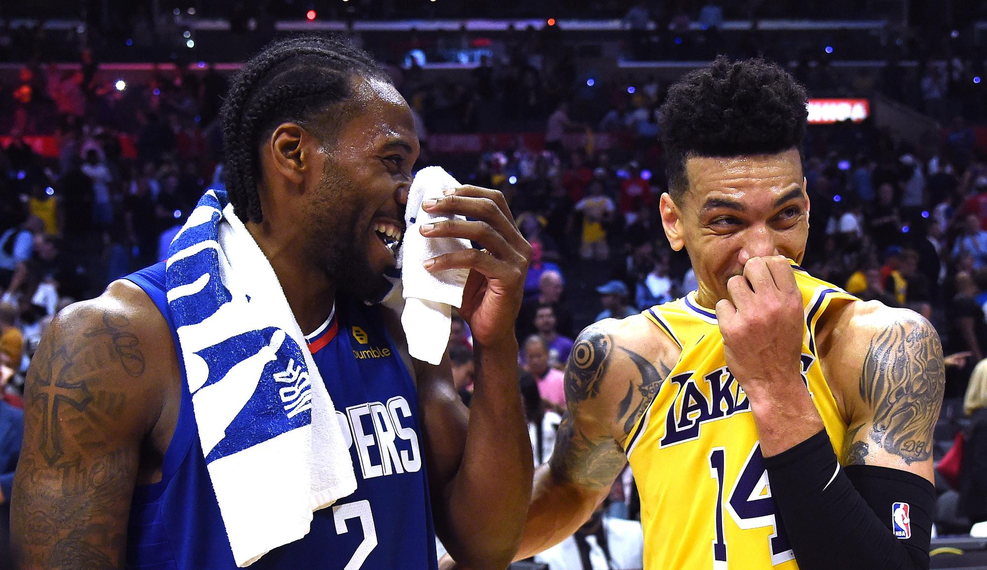 Kawhi Leonard and Danny Green, Los Angeles Lakers vs L.A. Clippers
