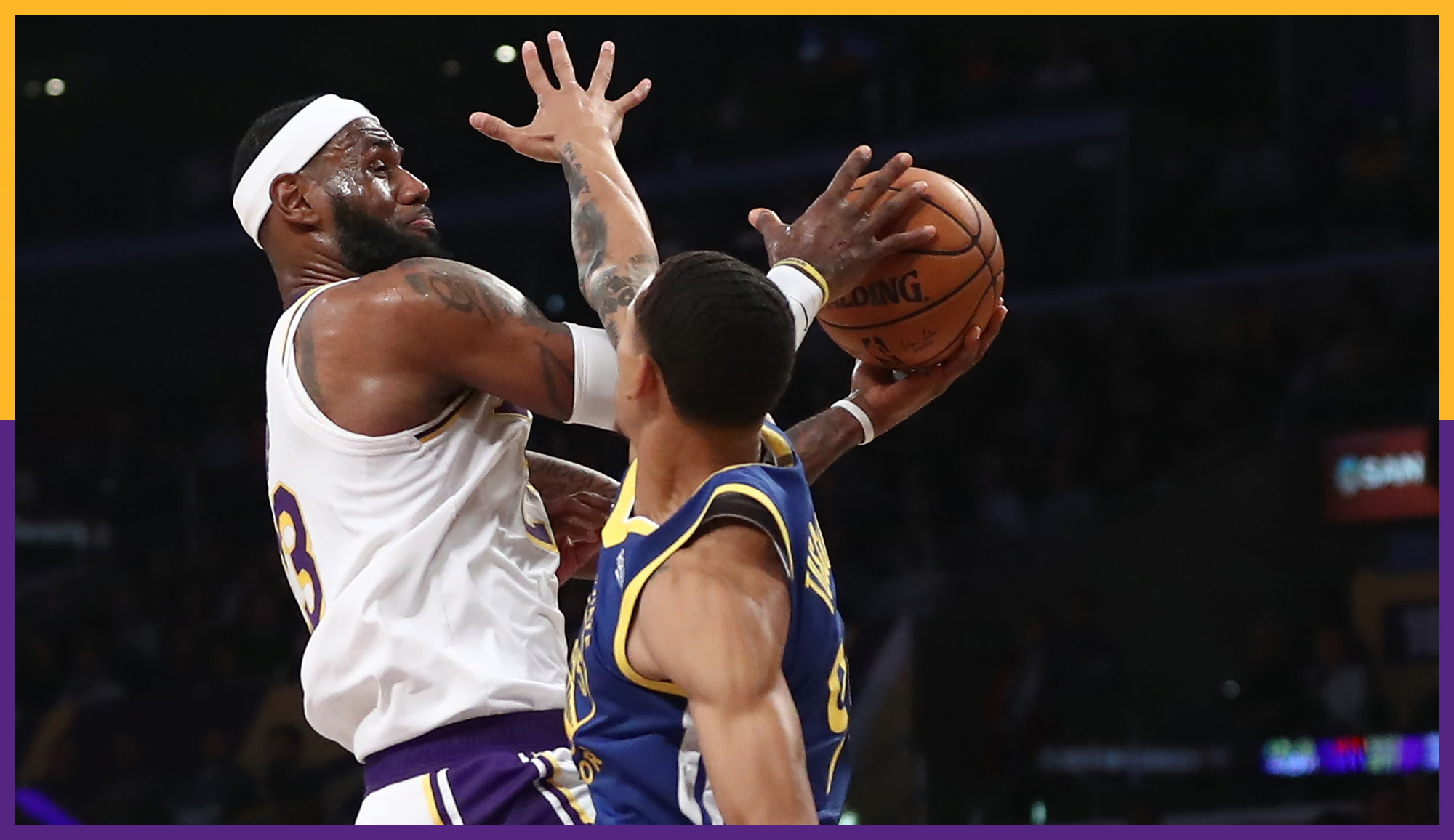 LeBron James and Juan Toscano-Anderson, Los Angeles Lakers vs Golden State Warriors