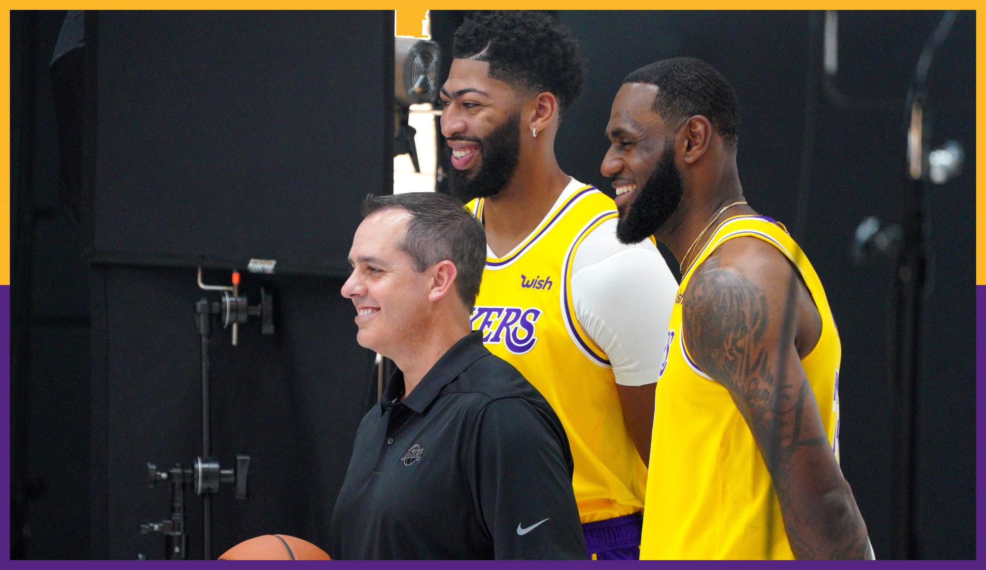 Frank Vogel, Anthony Davis and LeBron James
