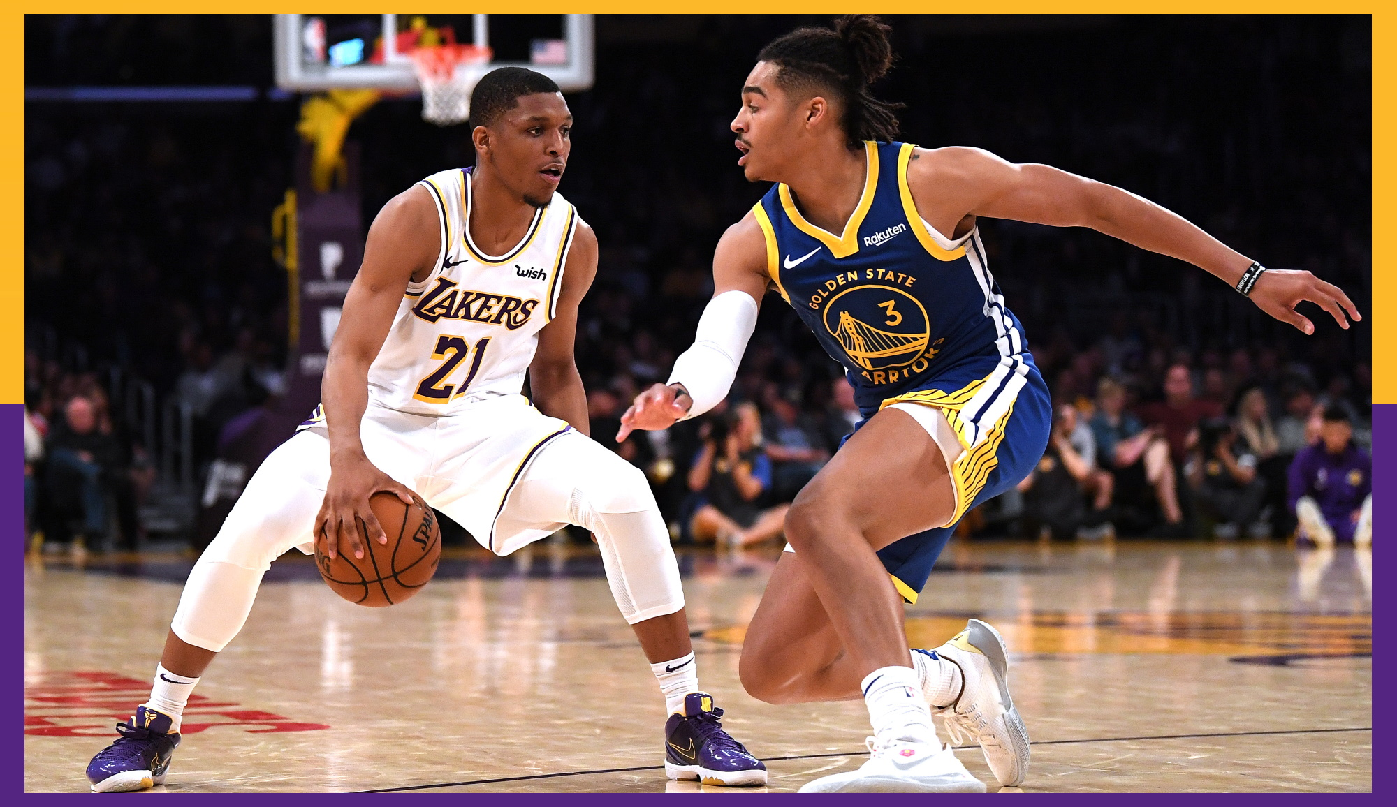 Zach Norvell Jr. and Jordan Poole, Los Angeles Lakers vs Golden State Warriors at Staples Center