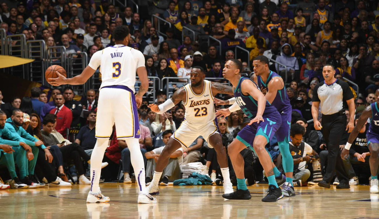 Anthony Davis and LeBron James, Los Angeles Lakers vs Charlotte Hornets