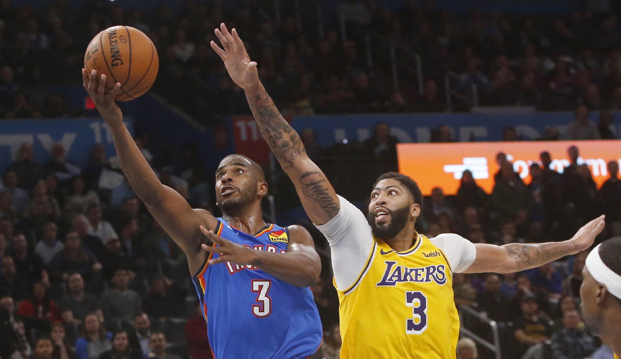 Chris Paul and Anthony Davis, Los Angeles Lakers vs Oklahoma City Thunder