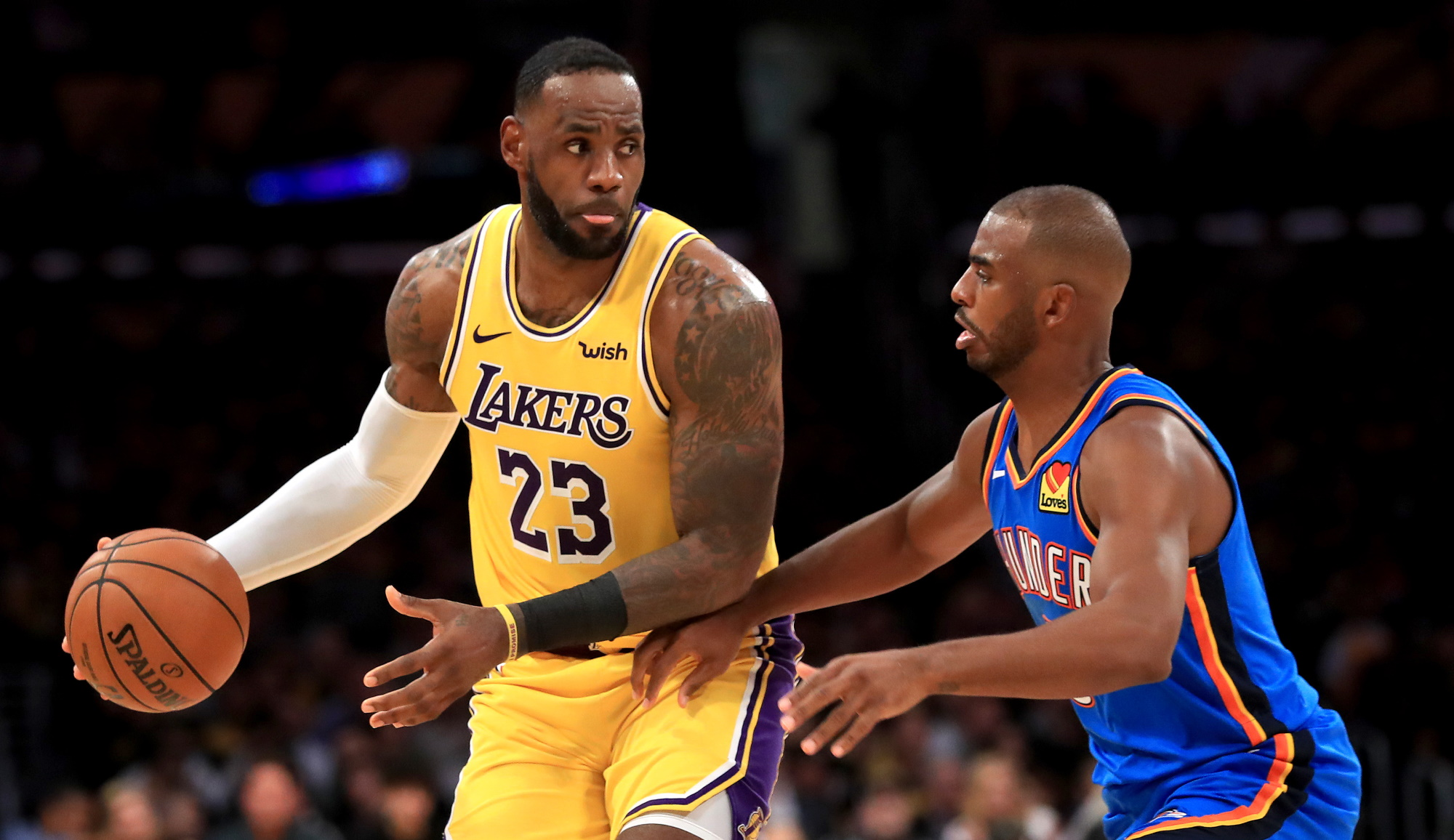 LeBron James and Chris Paul, Los Angeles Lakers vs Oklahoma City Thunder