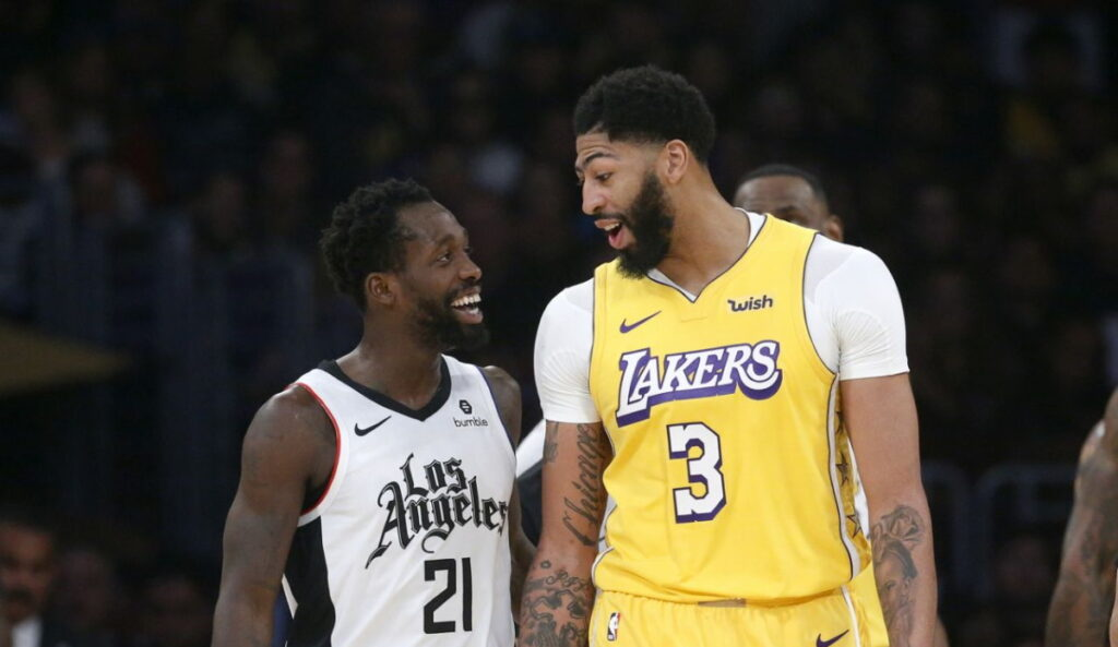 Anthony Davis and Patrick Beverley, Los Angeles Lakers vs LA Clippers at STAPLES Center