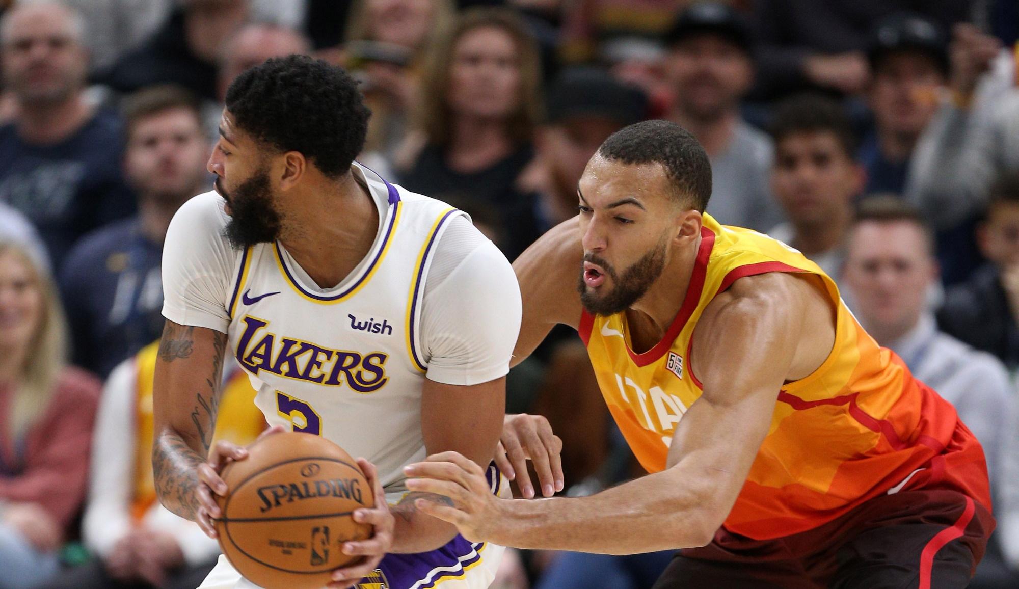 Anthony Davis and Rudy Gobert, Los Angeles Lakers vs Utah Jazz
