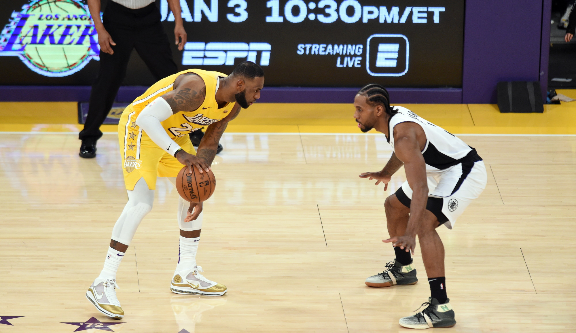 LeBron James and Kawhi Leonard, Los Angeles Lakers vs LA Clippers at STAPLES Center