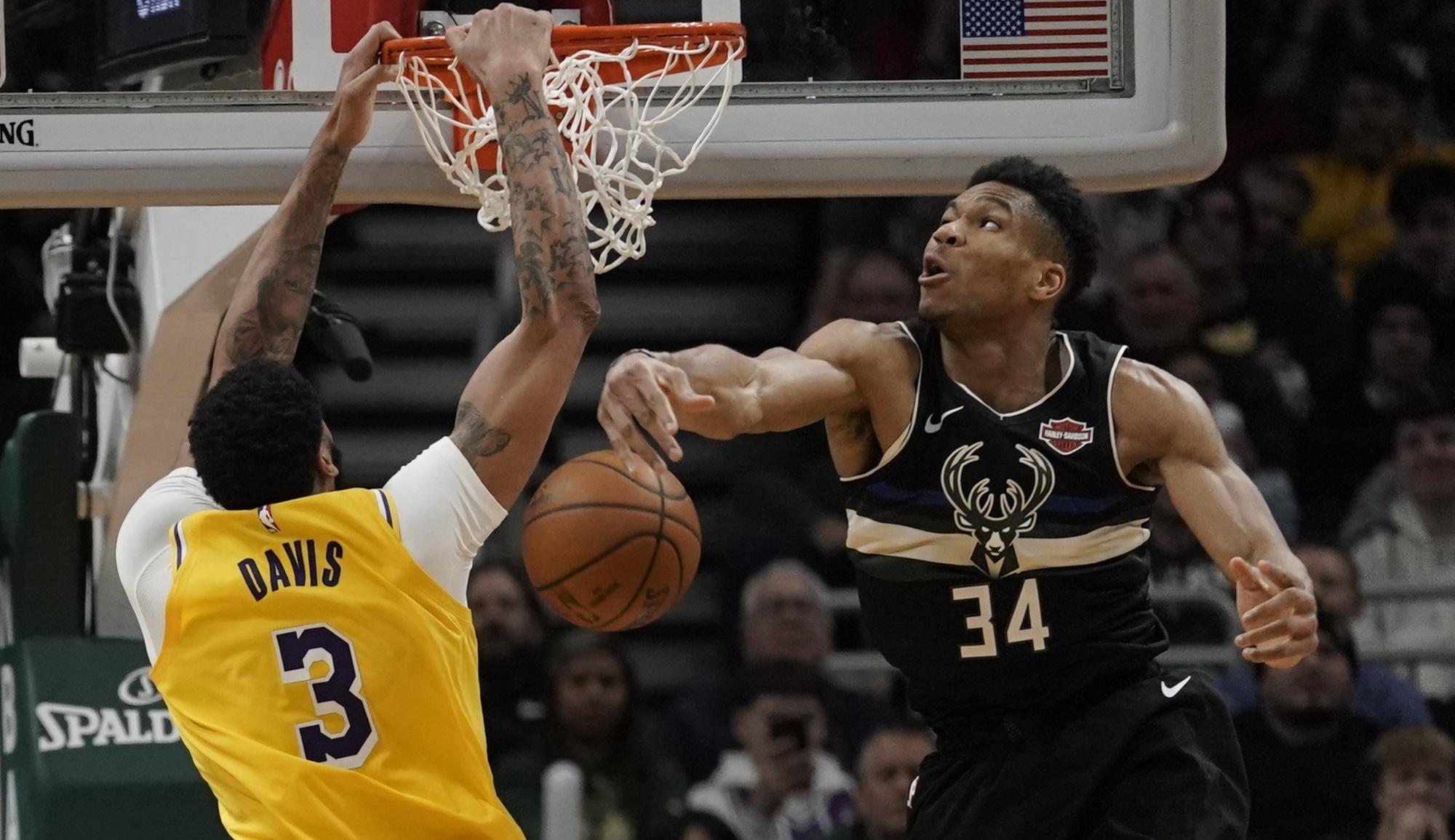 Anthony Davis and Giannis Antetokounmpo, Los Angeles Lakers vs Milwaukee Bucks