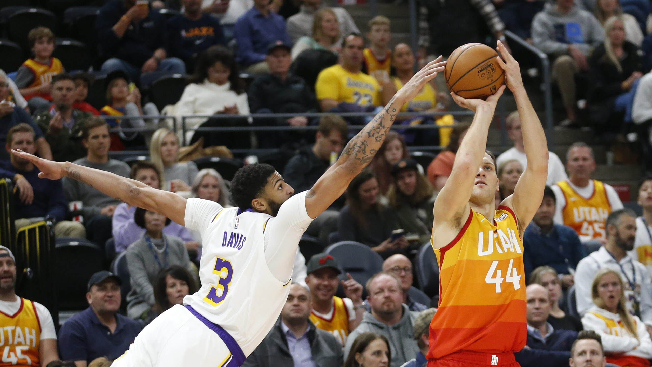 Anthony Davis and Bojan Bogdanovic, Los Angeles Lakers vs Utah Jazz