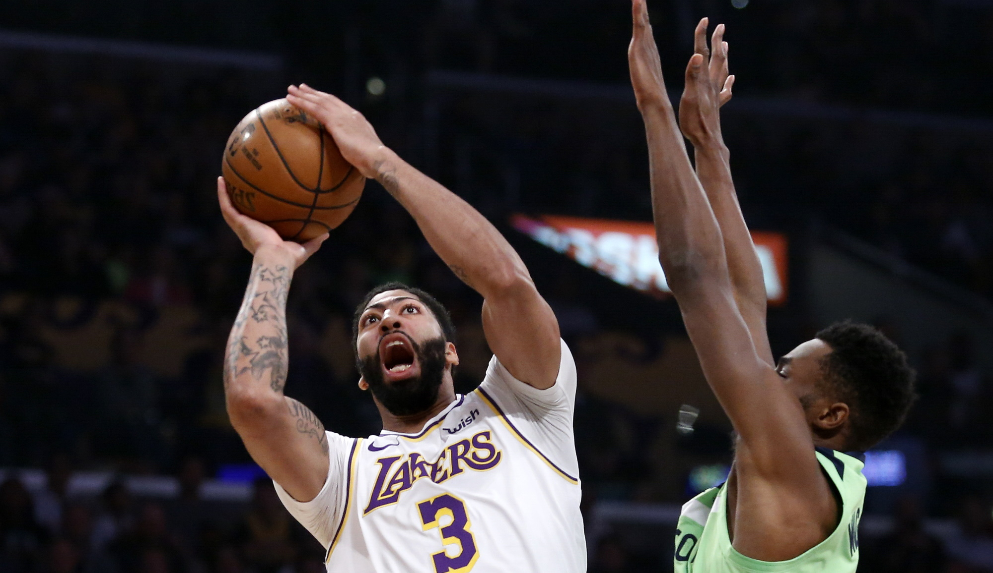 Anthony Davis and Andrew Wiggins, Los Angeles Lakers vs Minnesota Timberwolves