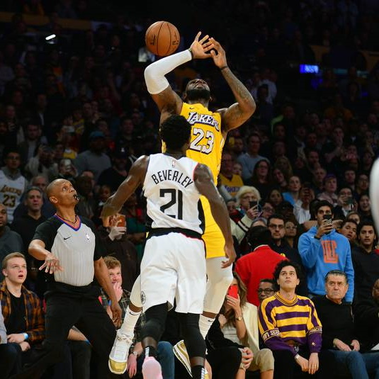 LeBron James and Pat Beverley, Los Angeles Lakers vs LA Clippers at STAPLES Center