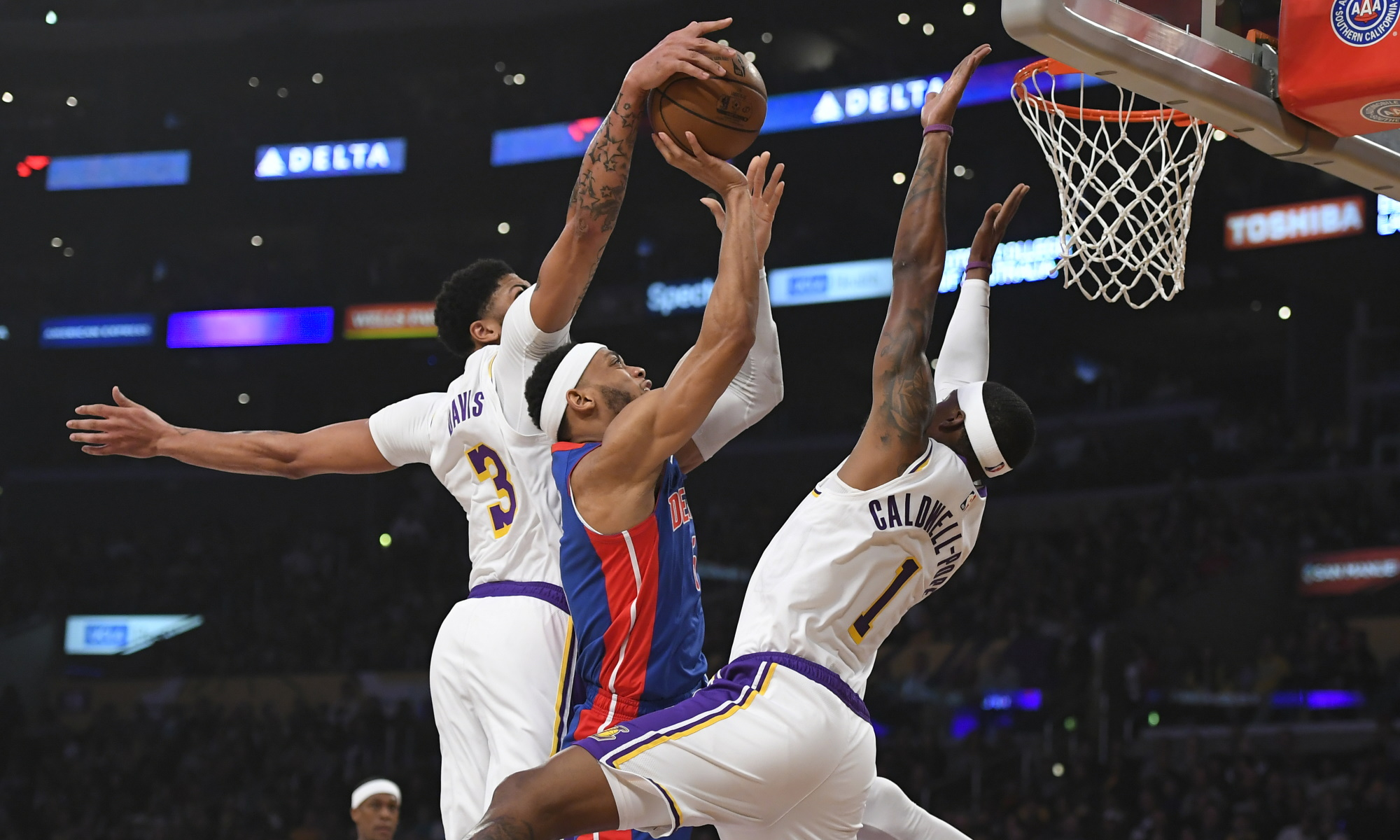 Anthony Davis, Bruce Brown and Kentavious Caldwell-Pope. Los Angeles Lakers vs Detroit Pistons at STAPLES Center