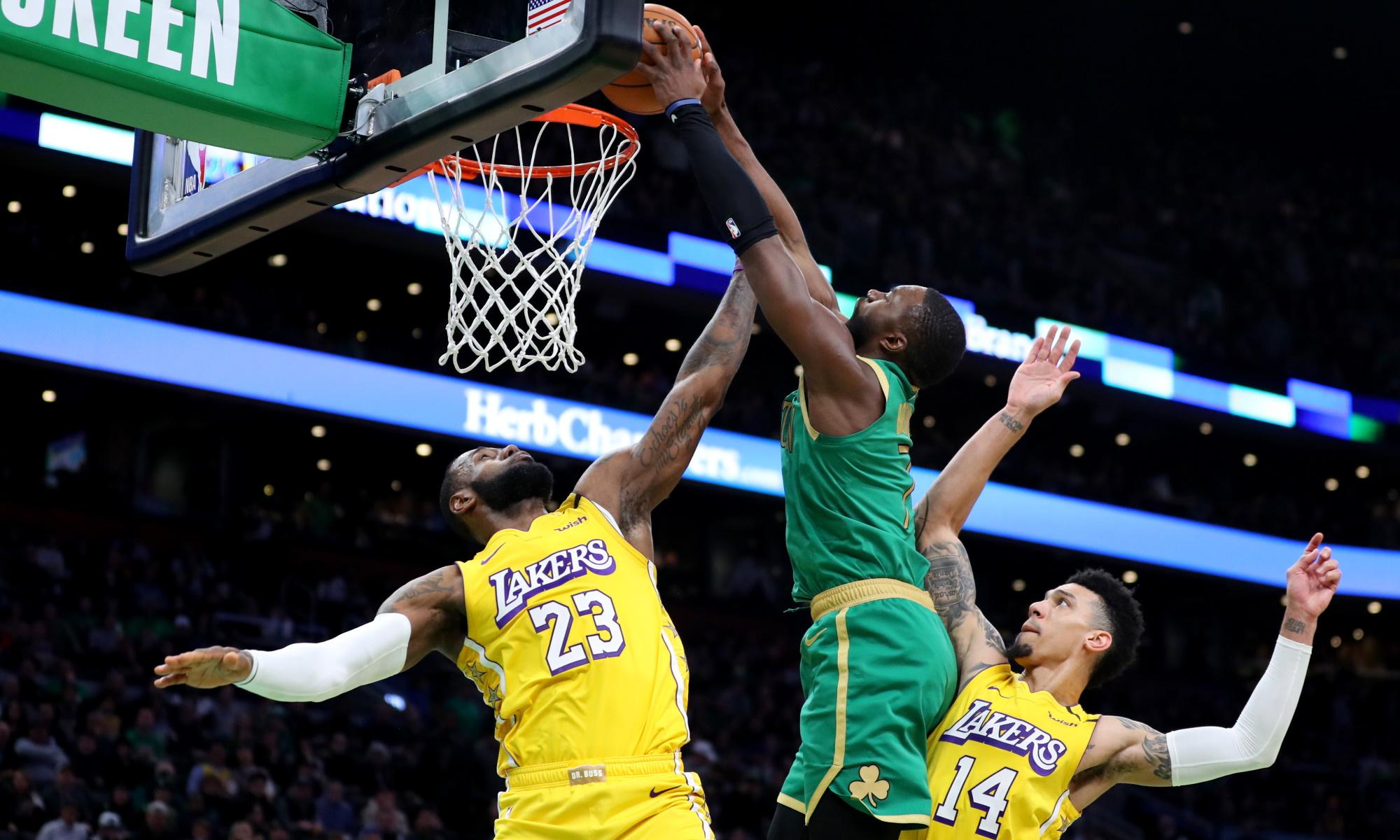 LeBron James, Jaylen Brown and Danny Green. Los Angeles Lakers vs Boston Celtics at TD Garden