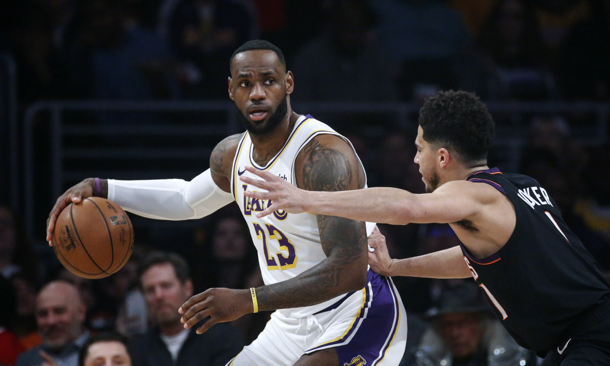 LeBron James and Devin Booker, Los Angeles Lakers vs Phoenix Suns at STAPLES Center