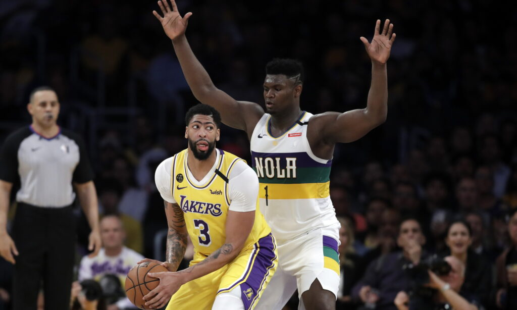 Anthony Davis and Zion Williamson, Los Angeles Lakers vs New Orleans Pelicans at STAPLES Center