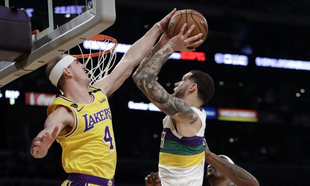 Alex Caruso and Lonzo Ball, Los Angeles Lakers vs New Orleans Pelicans at STAPLES Center