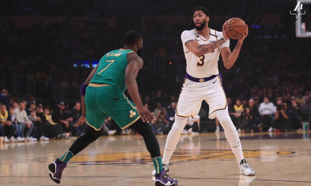 Anthony Davis and Jaylen Brown, Los Angeles Lakers vs Boston Celtics