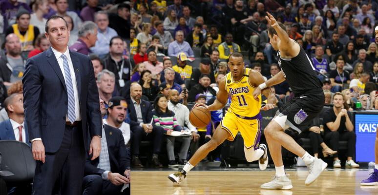 Frank Vogel and Avery Bradley, Los Angeles Lakers vs Sacramento Kings at Golden 1 Center