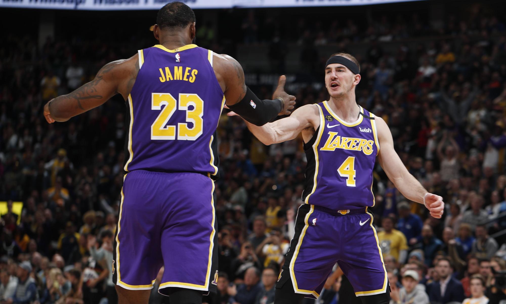 LeBron James and Alex Caruso, Los Angeles Lakers vs Denver Nuggets at Pepsi Center