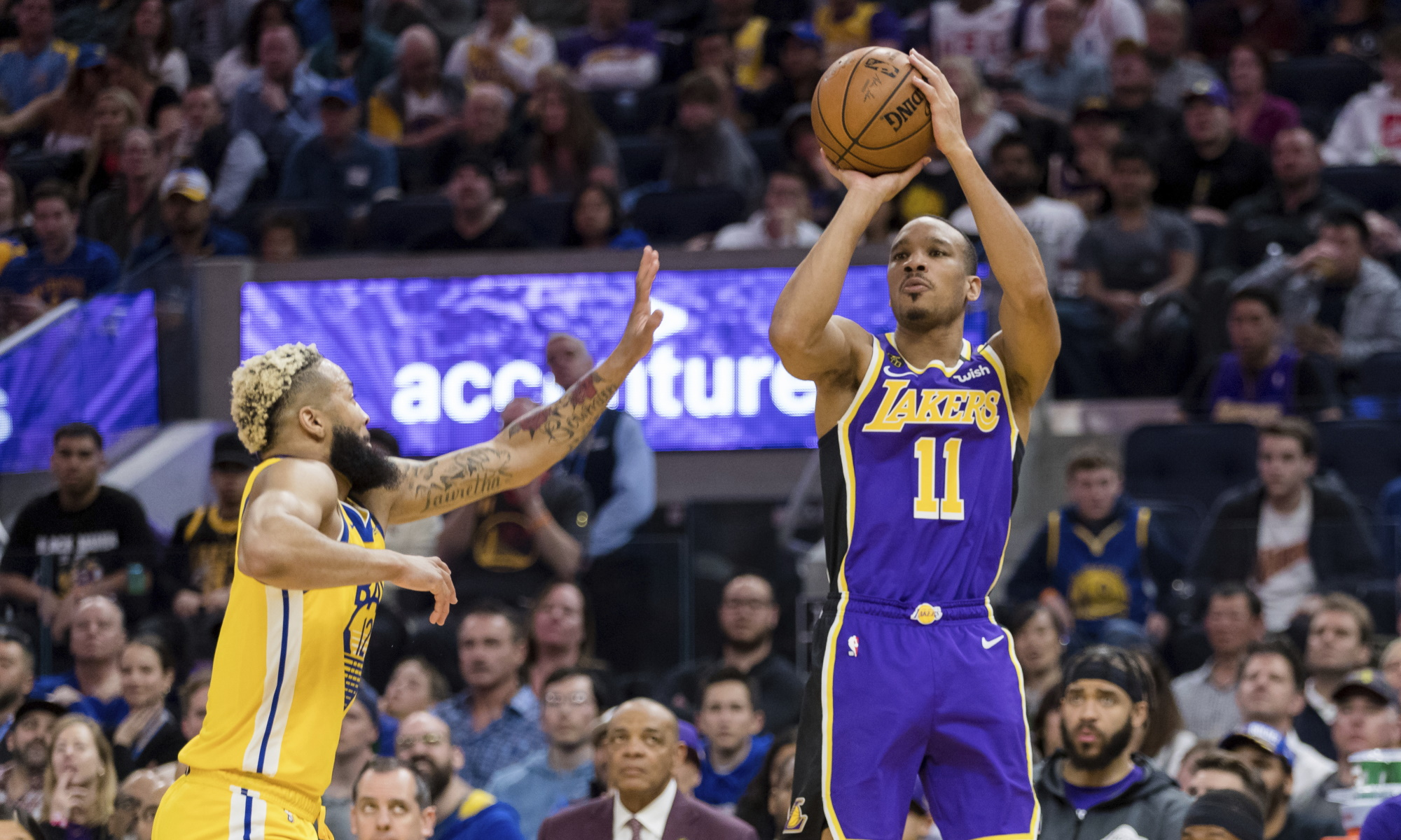 Avery Bradley, Los Angeles Lakers vs Golden State Warriors at Chase Center
