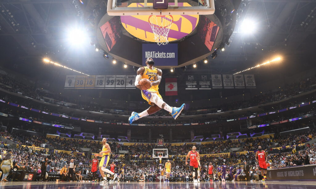 LeBron James, Los Angeles Lakers vs Houston Rockets at STAPLES Center