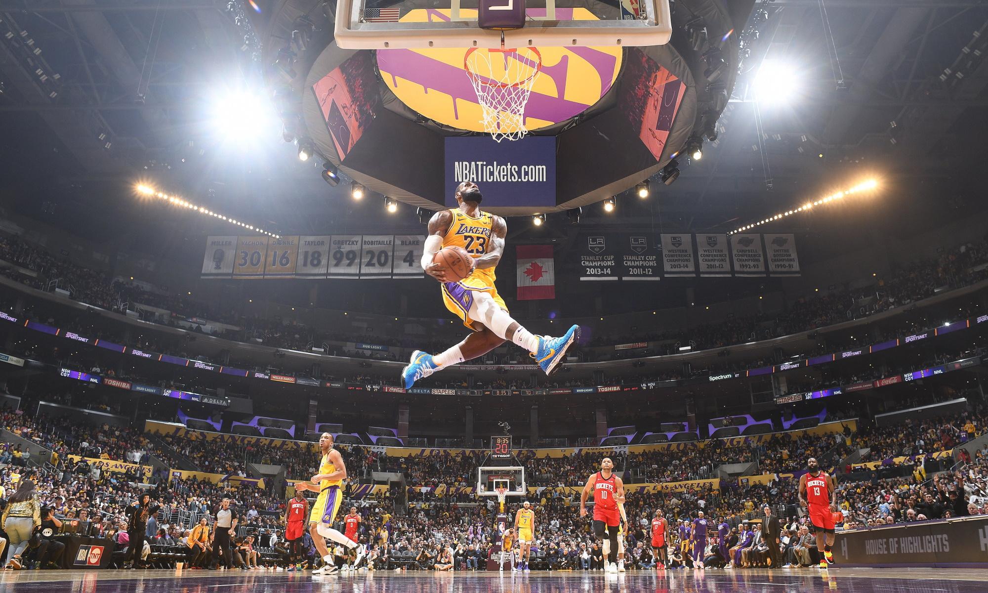 LeBron James, Los Angeles Lakers vs Houston Rockets at STAPLES Center