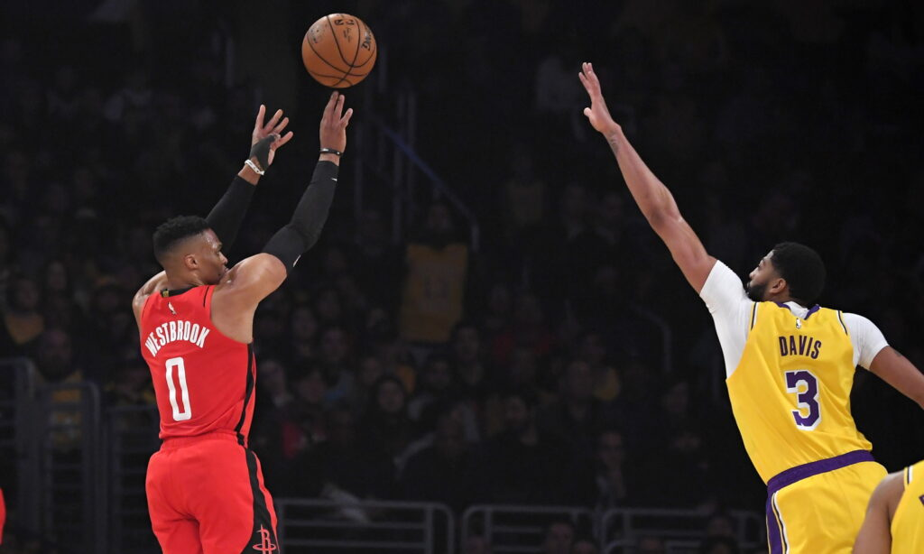Russell Westbrook and Anthony Davis, Los Angeles Lakers vs Houston Rockets at STAPLES Center
