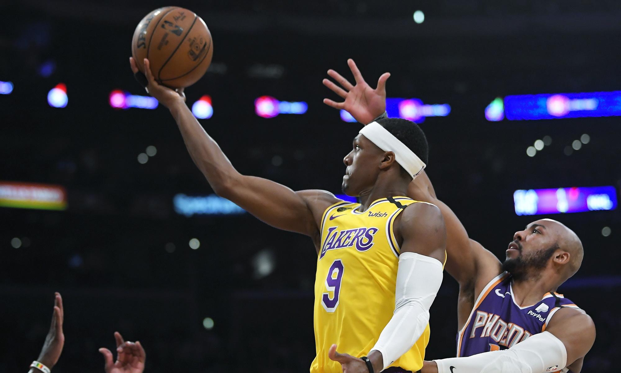 Rajon Rondo and Jevon Carter, Los Angeles Lakers vs Phoenix Suns at STAPLES Center