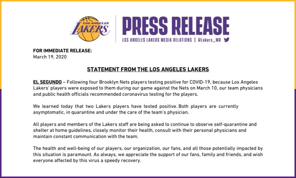 2020.03.19 Lakers Statement