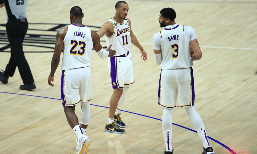LeBron James, Avery Bradley and Anthony Davis. Los Angeles Lakers vs LA Clippers at STAPLES Center