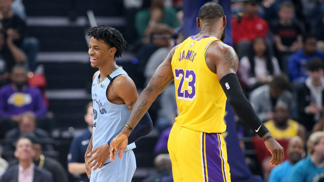 Ja Morant and LeBron James, Los Angeles Lakers vs Memphis Grizzlies at FedExForum