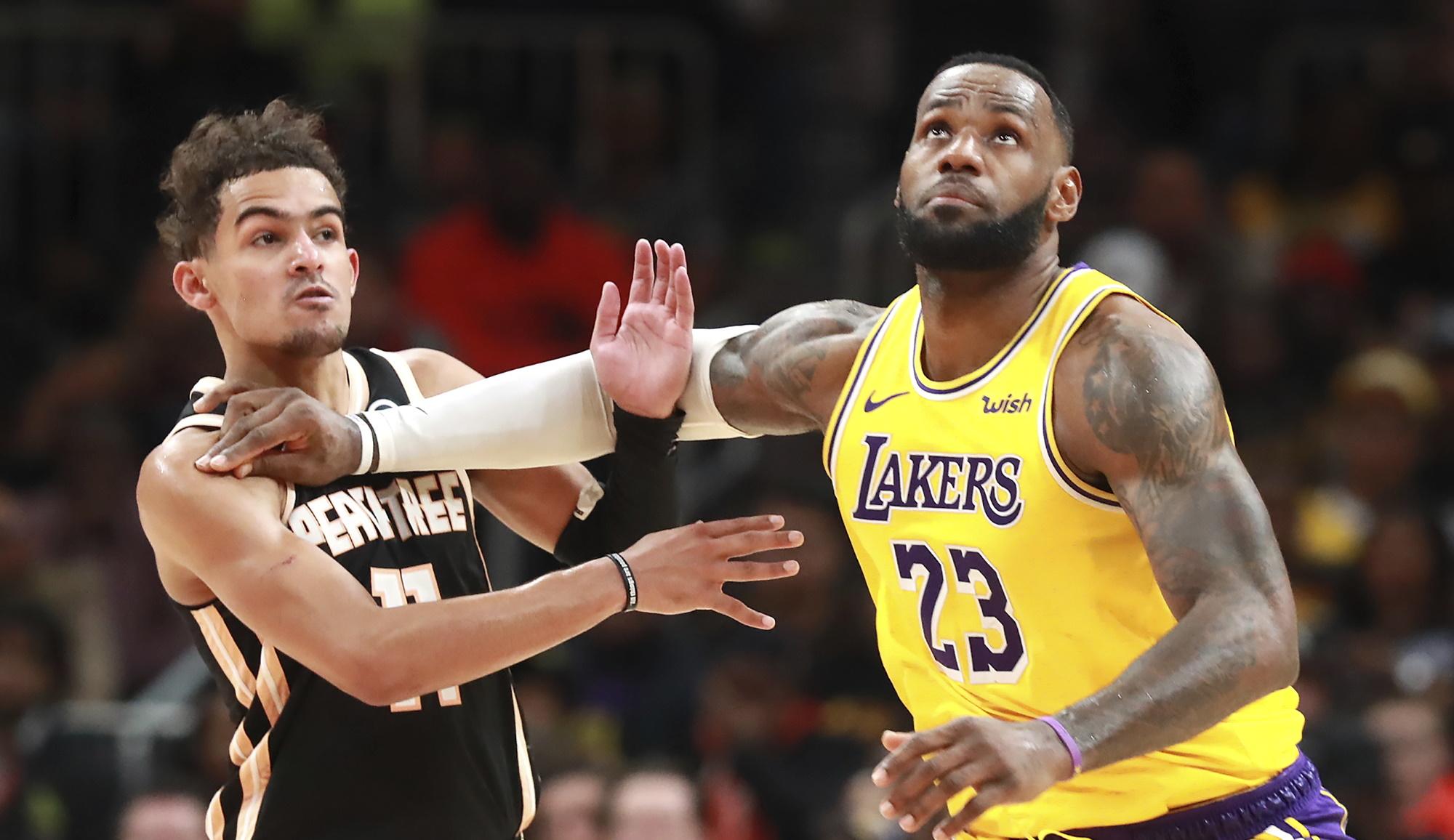 LeBron James and Trae Young, Los Angeles Lakers vs Atlanta Hawks