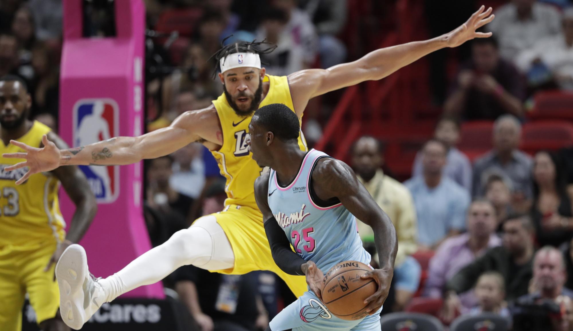JaVale McGee and Kendrick Nunn, Los Angeles Lakers vs Miami Heat