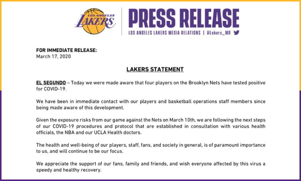 Lakers Statement